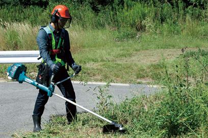 Memakai cermin mata keselamatan ketika memotong rumput2